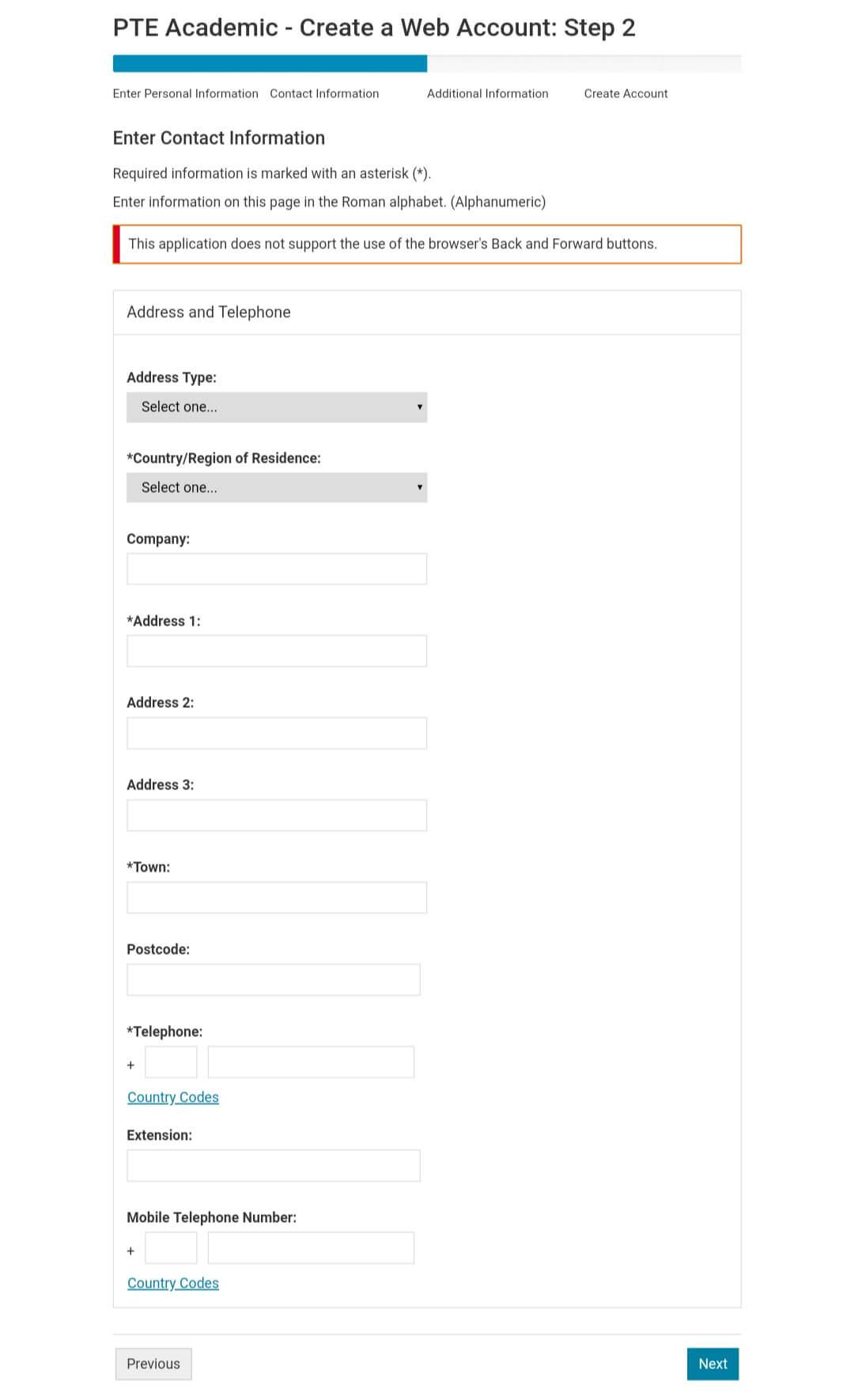 create an account on pearsonpte.com